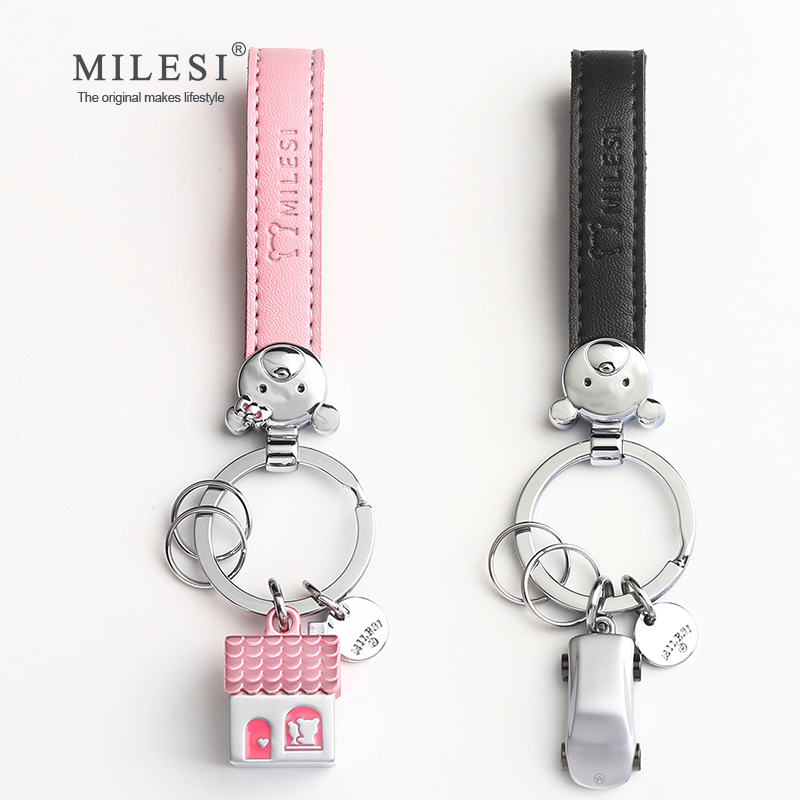 Milesi Pairs Of Key Holder House Car Shaped Couple Keychain Trinket Creative Keyring Fashion Pendant Gift For Lovers K0209_1