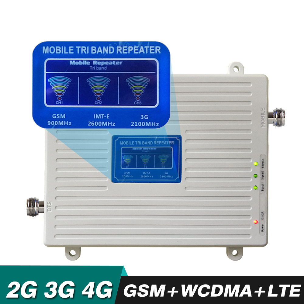 2g 3g 4g Tri Band Ripetitore GSM 900 WCDMA 2100 LTE 2600 Cellulare Amplificatore di Segnale Del Telefono Cellulare ripetitore 4g LTE Mobile Del Segnale Del Ripetitore