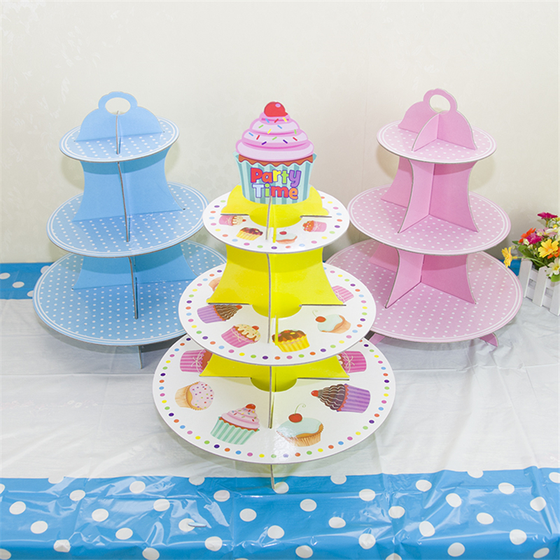 Wholesale 3 Tier Paper Cupcake Cake Stand Plates Holder Wedding Kids Children Happy Birthday Party Christmas Bakery Decoration