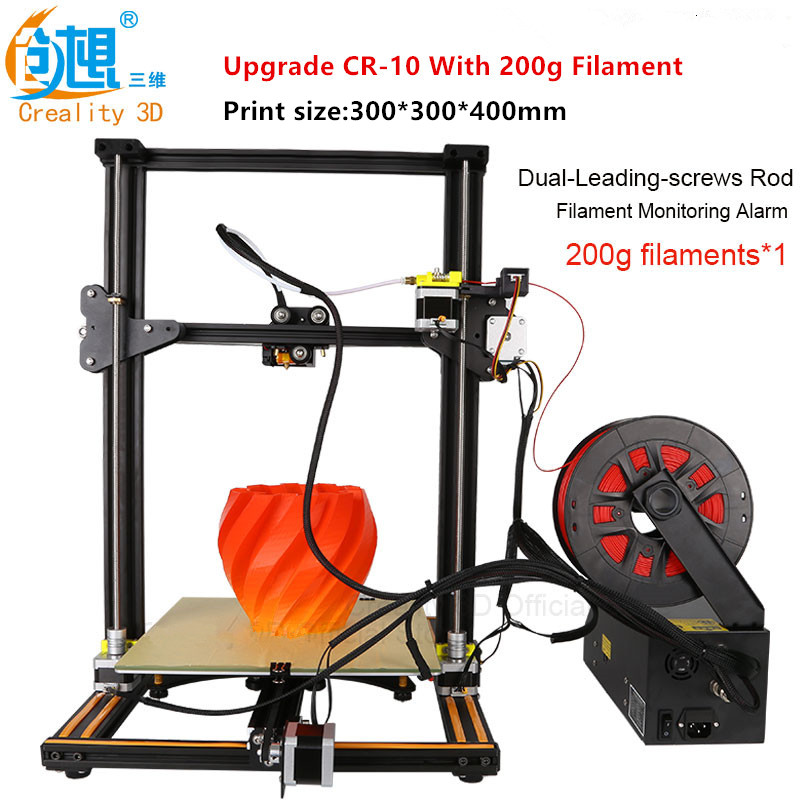 2017 Large Size Various Optional Set 3D Printer Creality CR-10S Dual-Leading-Screws Rod DIY 3D Printer Kits Filament Heated Bed flsun 3d printer big pulley kossel 3d printer with one roll filament sd card fast shipping
