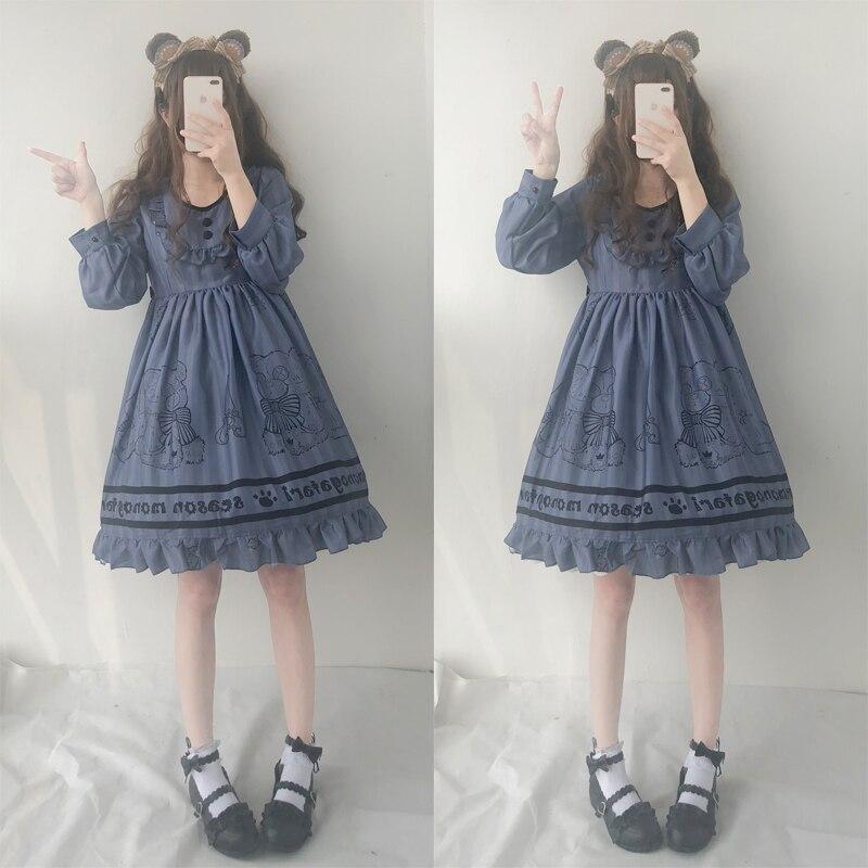 Kawaii Lolita filles à manches longues robe ours poupée imprimer Vintage japonais femmes automne OP robe à volants garniture mignonne Dolly robe 2018