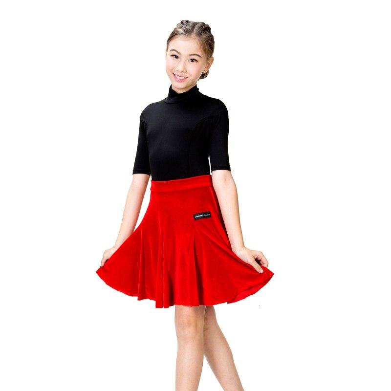 Latin Dance Dress Girls Kids Milk Silk Short Sleeve Stand Collar Samba Costume Tango Clothes Latin Dance Practice Wear DN1013