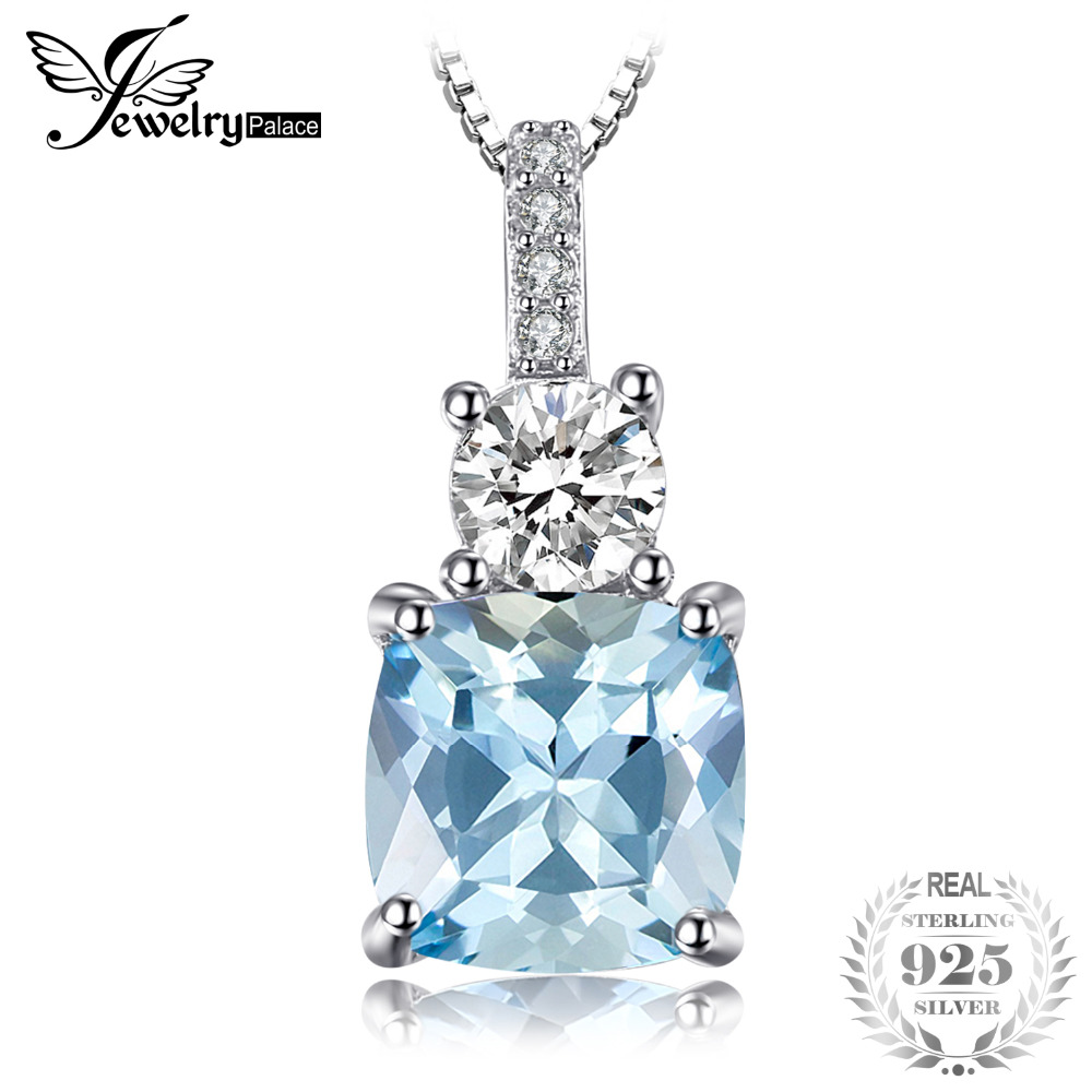 JewelryPalace 2.2ct Cushion-Cut Genuine Sky Blue Topaz Pendant Necklace 925 Sterling Silver 45cm Box Chain Fine Jewelry