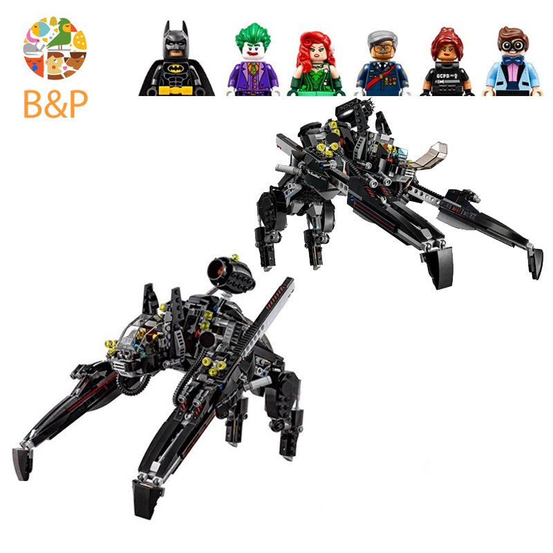 Leoging 70908 775Pcs Batman Movie Series The Scuttler Bat Spaceship Set Building Blocks Bricks Education Toys Gift 07056 lepin 07056 super heroes batman the scuttler building blocks new year gift toys for children bela decool 70908