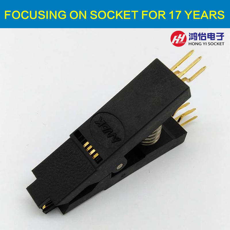 BIOS SOP8 SOIC8 Bent Original Test Clip Pin Pitch 1.27mm Universal Body EPROM Programming Clip Suitable for Dupont Line free shipping sop32 wide body test seat ots 32 1 27 16 soic32 burn block programming block adapter