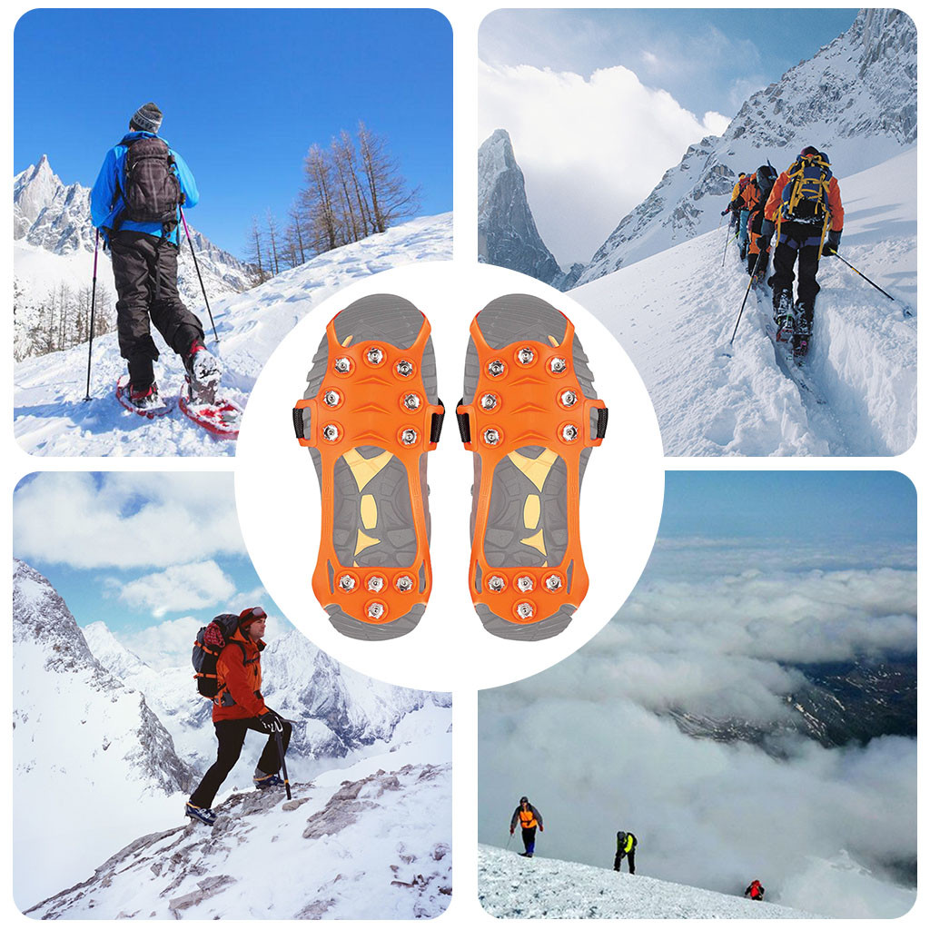 Non Slip Snow Cleats Shoes Boots Cover Step Ice Spikes Grips Crampons For Hiking