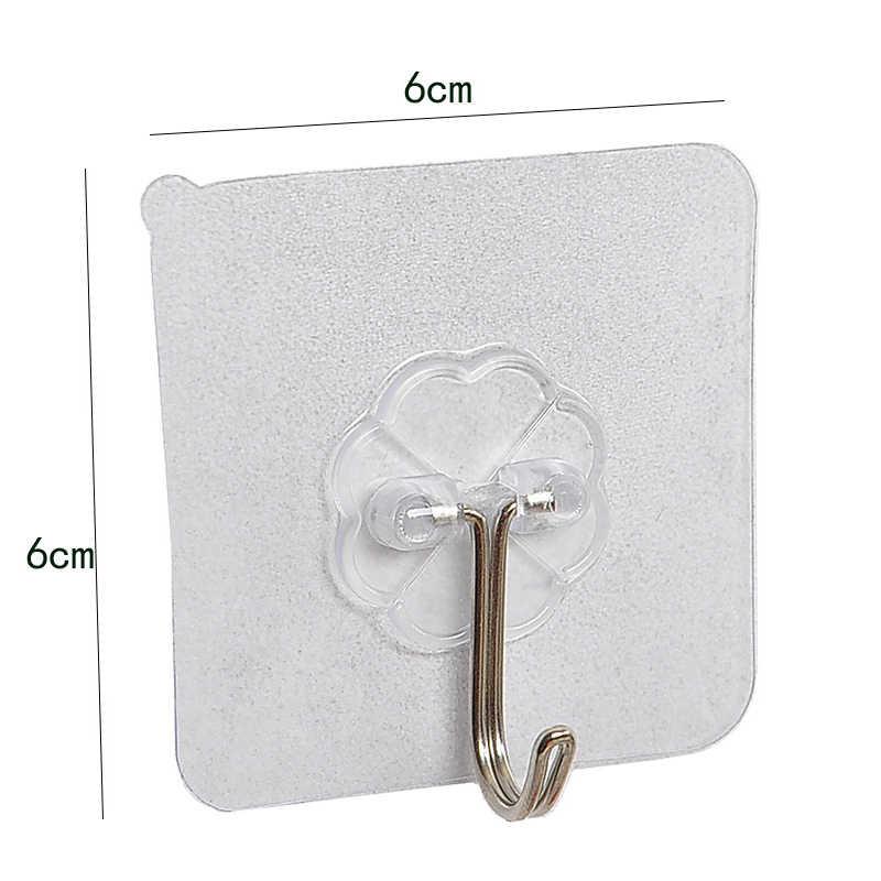 10 pçs forte transparente ventosa otário ganchos de parede gancho para cozinha banheiro 6*6cm ganchos de parede