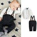 2 Pcs Set Outfit Baby Boy Sets de roupa criança camisa Top + Bib Pants geral traje crianças conjunto de roupas para 3M-2Y