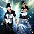 Envío gratis hip hop lentejuelas bailando traje de hip hop hip hop lentejuelas t-shirt mujeres hip hop ropa con alta calidad