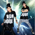 Free shipping hip hop dancing sequined costume hip hop pants hip hop sequined t-shirt women hip hop clothing with high quality
