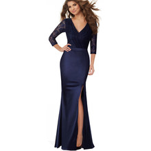 e372a8ea219 Women Elegant Classy V Neck Side Slit Tunic Noble Lace Contrast Long Maxi Party  Dress For Special Occasion EA018