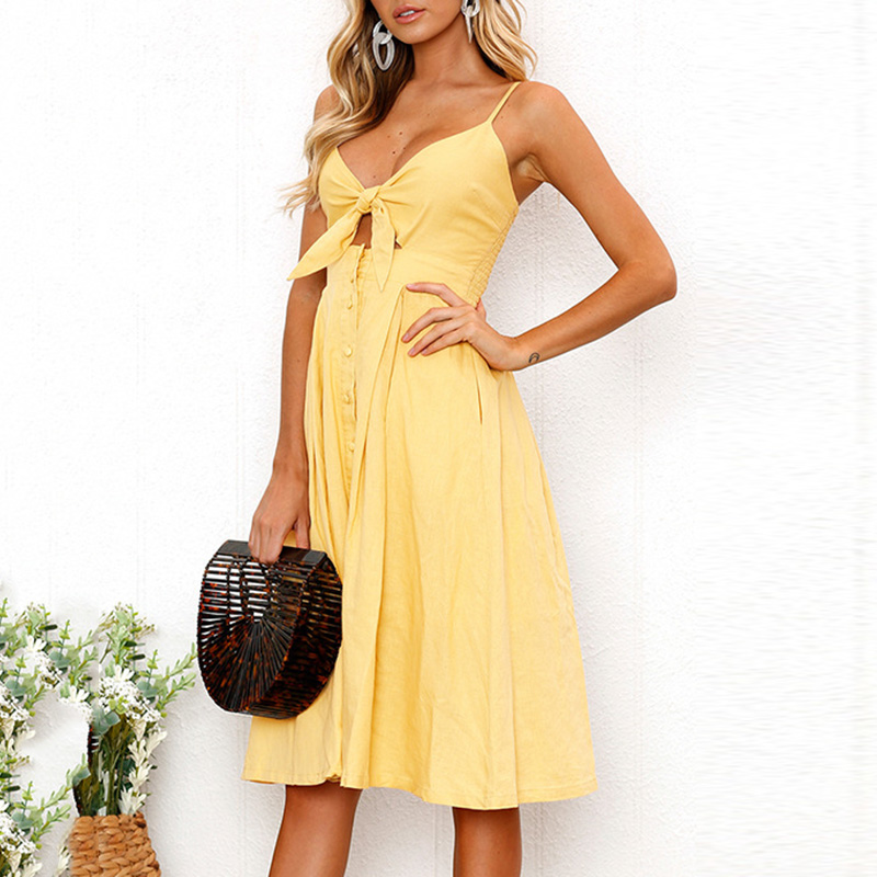2018 Red Yellow Dress Summer NEW Women Bowknot Lace Up Ladies Holiday Beach Cocktail Party Dress