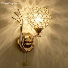 Круглый настенный светильник светодиодный с кристаллами для