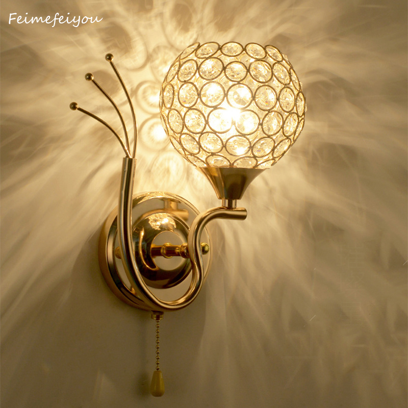 Circular wall lamp LED crystal lamps and lanterns of contemporary and contracted stair creative living room lamp bedroom light(China)