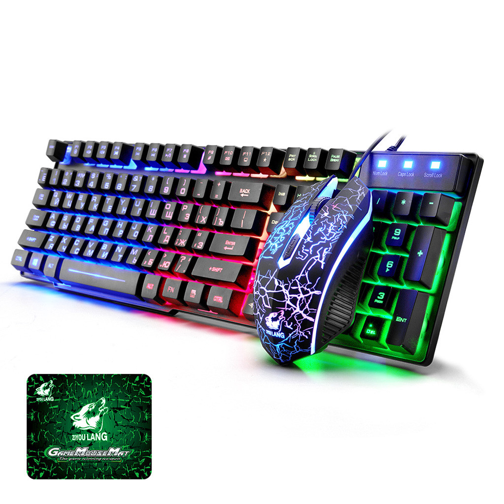 T5 Rainbow Backlight Usb Ergonomic Gaming English Russian wireless keyboard and mouse gaming keyboard pc gamer
