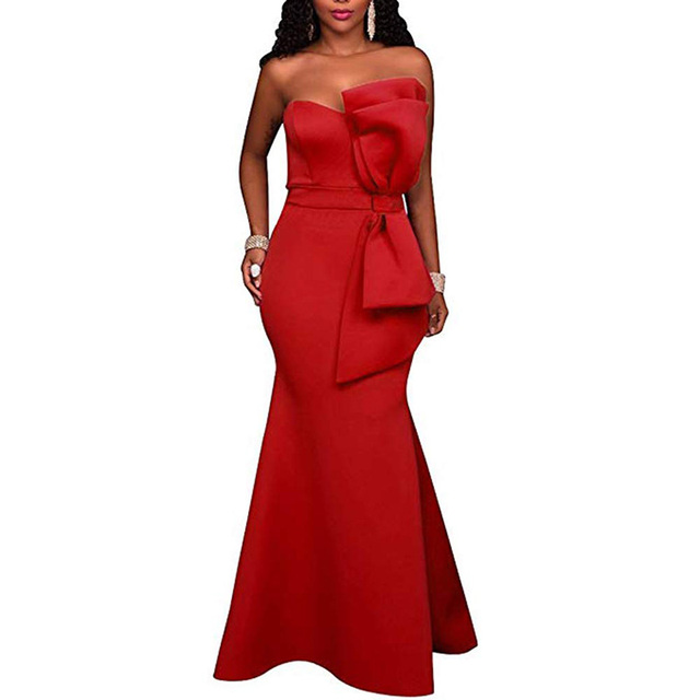 Strapless long red evening dress