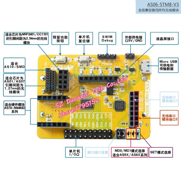STM8L Development Board Available for NRF24L01P | CC1101 | SI4432 | SI4463 | CC2500 Wireless Module module xilinx xc3s500e spartan 3e fpga development evaluation board lcd1602 lcd12864 12 module open3s500e package b