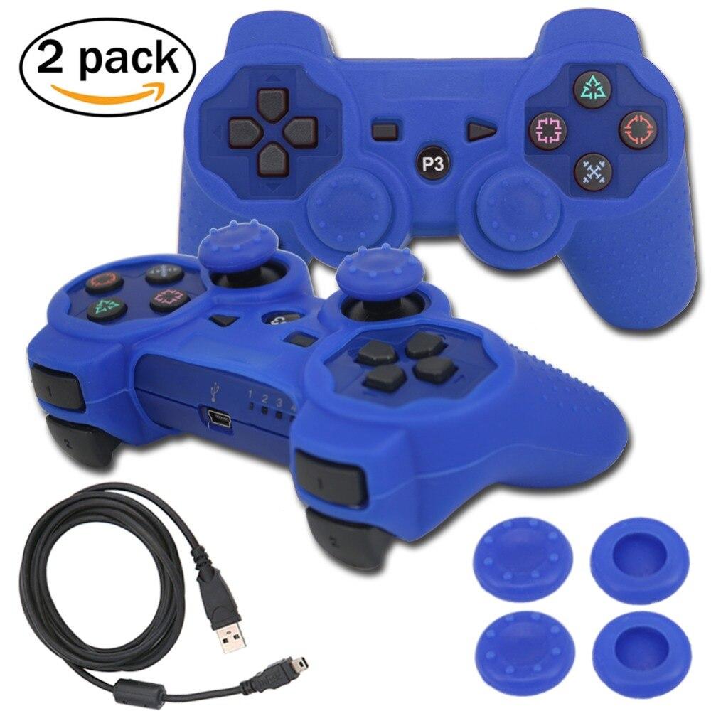 Blueloong 2 шт. Синий и Синий Цвет Беспроводной Bluetooth Джойстик Геймпад Для Playstation 3 Контроллер PS3 + Бесплатная Доставка