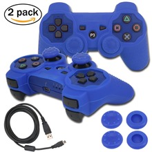 blueloong 2pcs Blue and Blue Color Wireless Bluetooth Joystick Gamepad For Playstation 3 PS3 Controller + Free Shipping