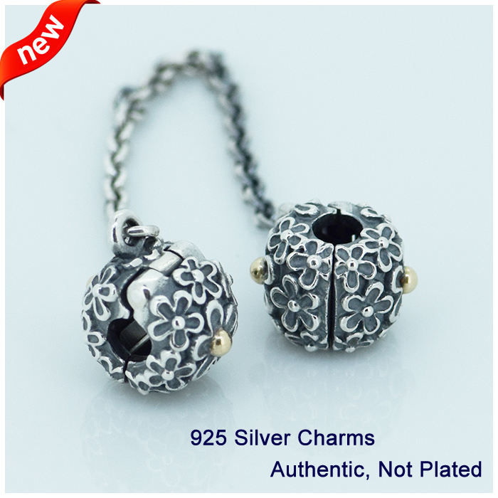 Подходит Pandora Талисманы Браслеты клип безопасный цепи Бусины подлинные 925 стерлингов Серебряные ювелирные изделия Бесплатная доставка
