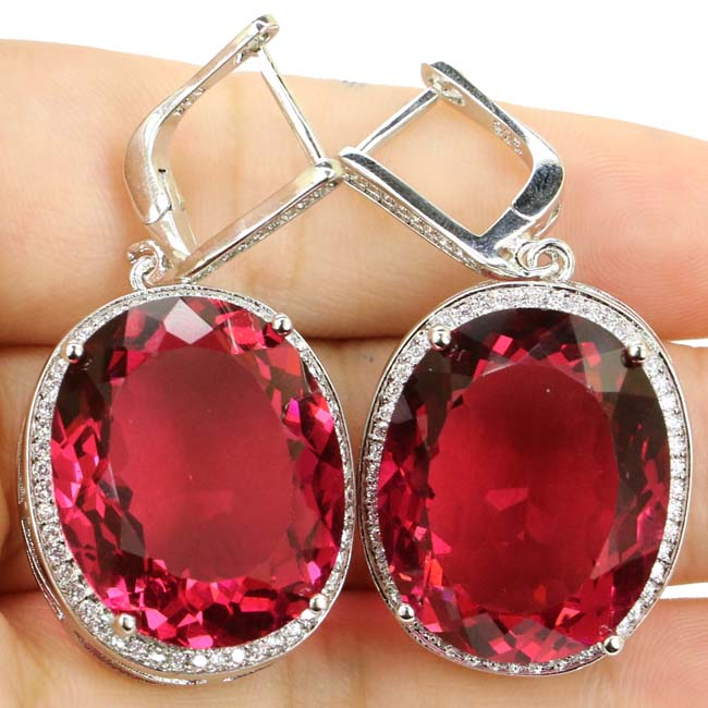 Big Oval Gem 22x18mm Pink Tourmaline Garnet, White CZ Woman's 925 Silver Earrings 40x20mm