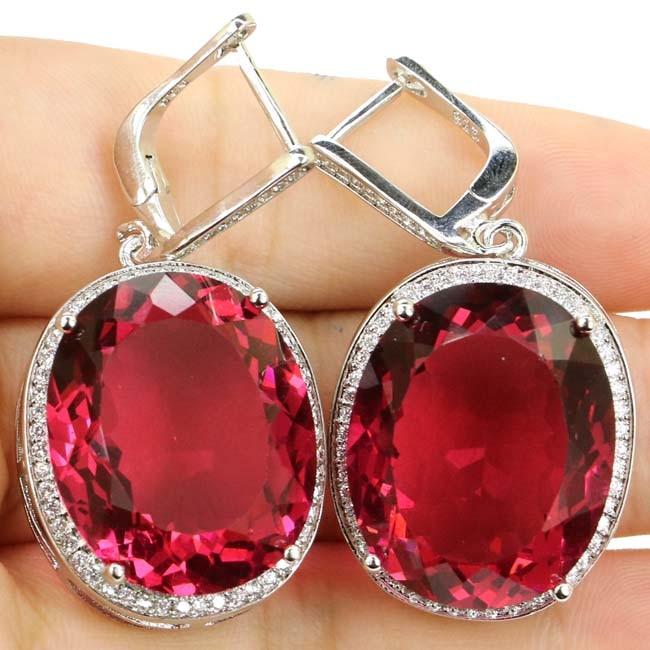 Big Oval Gem 22x18mm Pink Tourmalins Garnet, White CZ Woman's 925 Silver Earrings 40x20mm