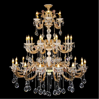 Deluxe 3 Layer Crystal Light Golden Candle Crystal Chandelier Lamp Hotel Staircase Jade Crystal Chandelier Hanging Drop Lights