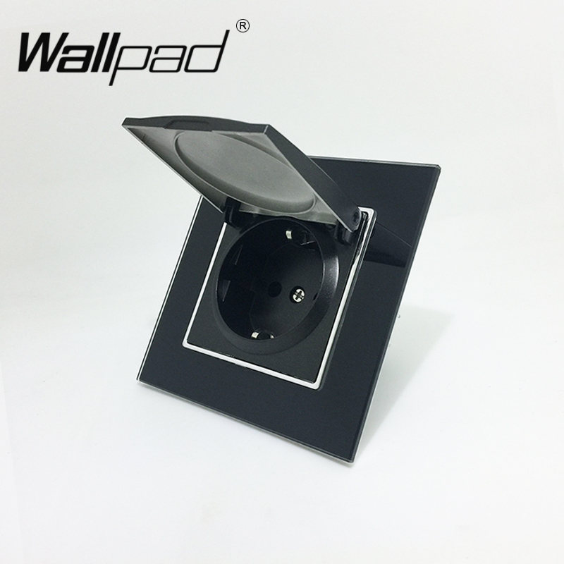 1 Gang Dust Cap Schuko Socket Wallpad Luxury Black Crystal Glass 110V-250V 16A Schuko Wall Power Socket EU with Claws Hook Clips