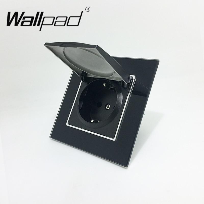 1 Gang Dust Cap Schuko Socket Wallpad Luxury Black Crystal Glass 110V-250V 16A Schuko Wall Power Socket EU with Claws Hook Clips