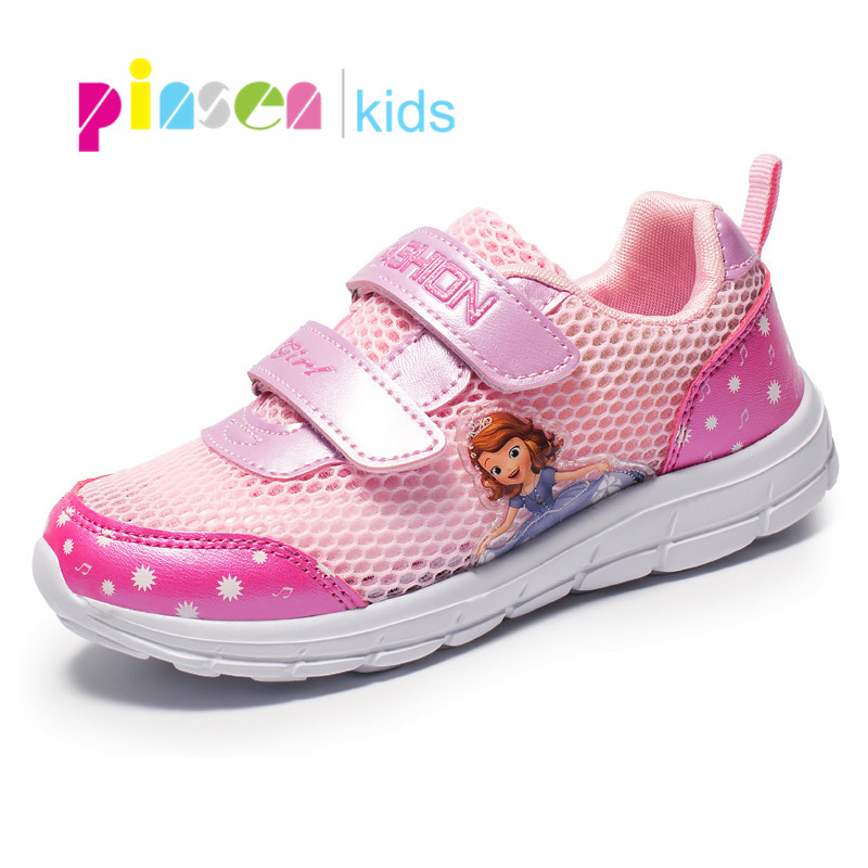 PINSEN 2019 Summer Kids Shoes For Girls Sneakers Breathable Air Mesh Girl Sports Shoes Fashion Princess Casual Children Shoes