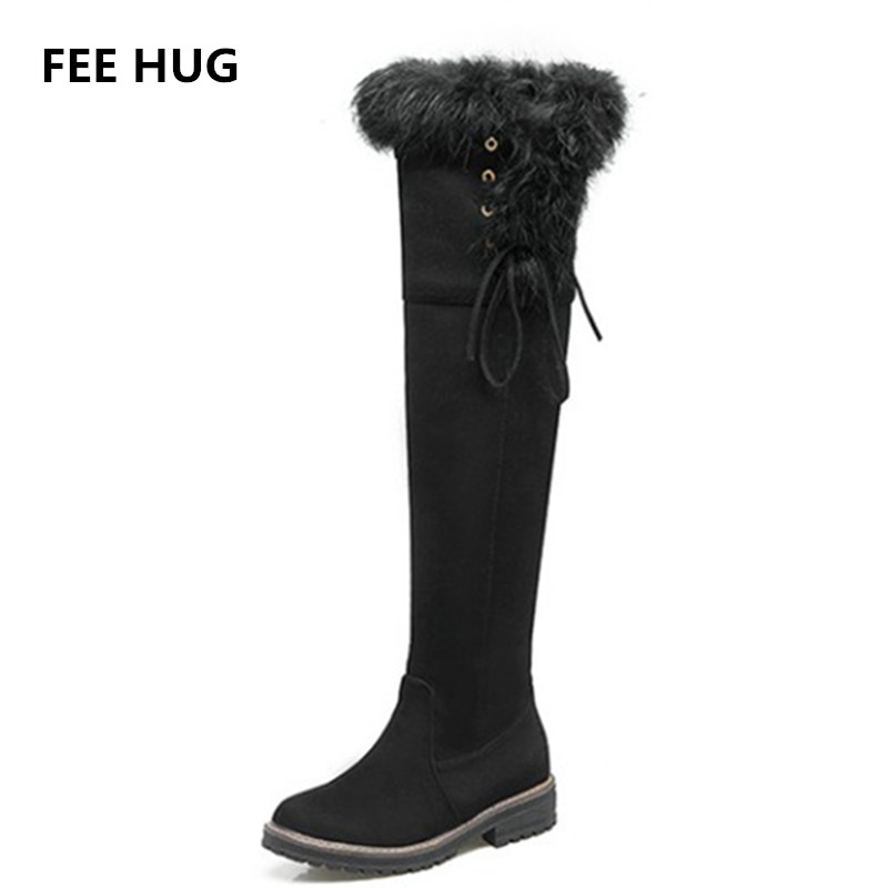 FEE HUG Fashion Women Over-the-Knee Real Rabbit Fur Long Boots Flats Faux Suede Leather Warm Winter Snow Boots Womens Shoes real fox fur cow suede leather long winter snow boots for women over the knee boots flats party shoes lady motorcycle boots