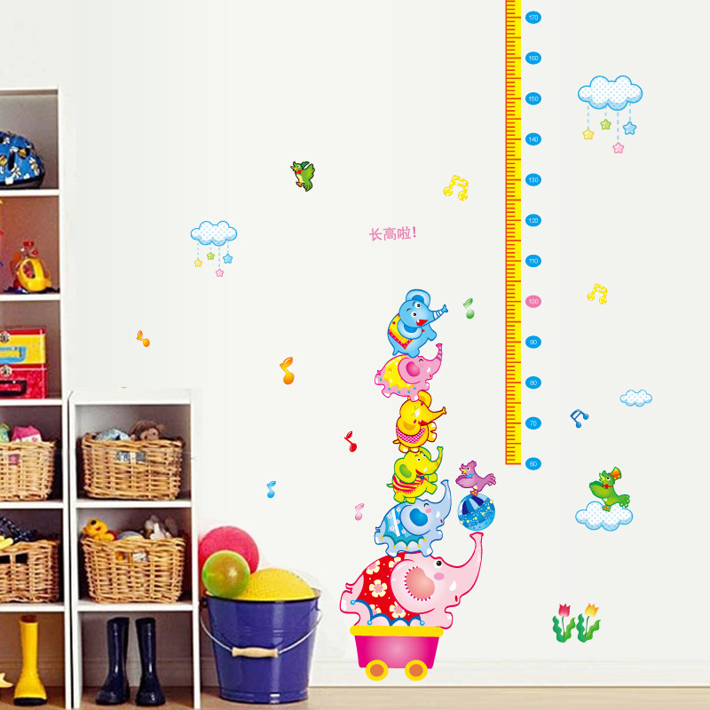 Colorful Rooms For Toddlers: Colorful Stacking Elephants Wall Stickers For Height Ruler