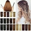 """27 """"69 cm Longo Encaracolado Mulheres Moda 3/4 Cabeça Cheia Extensões de Cabelo metade Cabeça Cheia Grampo-em Apliques em Uma Única Peças Trama cabelo"""