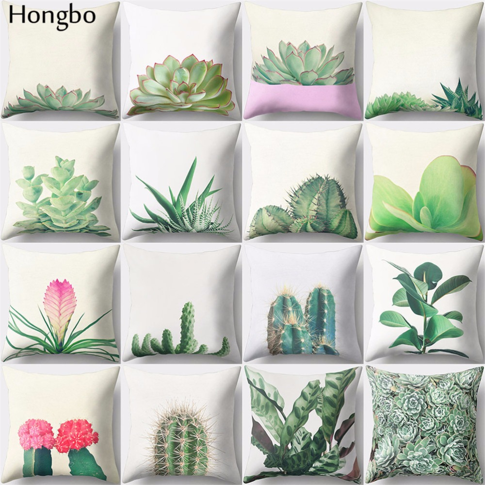 Hongbo 1 Pcs Succulents Plants Pattern Polyester Peach Skin Cushion Pillow Case Covers