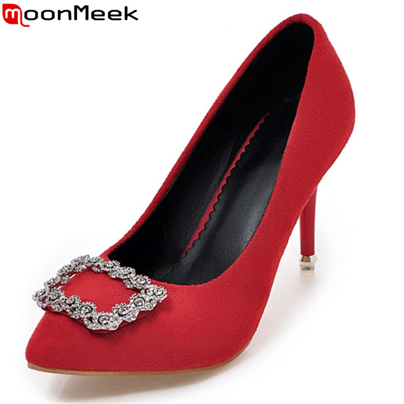 MoonMeek hot sale new arrive women pumps fashion pointed toe shallow spring autumn high heels single shoes lady wedding shoes e hot sale wholesale 2015 new women fashion leopard flat shallow mouth shoes lady round toe shoes
