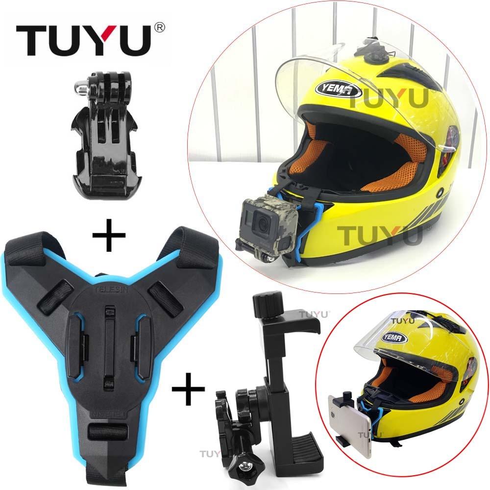 TUYU Motorcycle Helmet Chin Bracket For Gopro All Camera Motorcycle Helmet chin Mount Adapter For Gopro Hero6 5 4 SJCAM XiaomiYi стоимость