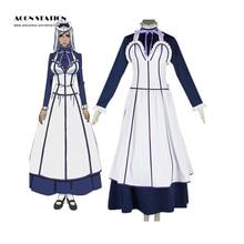 2016 Venta Caliente Negro Mayordomo Kuroshitsuji Emma Maid Vestido Anime Mujer Adulta Cosplay Calcetines Bowknot Blanco Vestido de Crinolina