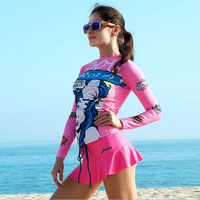 2017 أحدث النساء طفح الحرس الشاطئ تصفح بدلة السباحة الغوص البدلة مثير الإناث طويلة الأكمام قميص + اللباس rashguard بذلة VY003