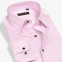 Men S Classic Vertical Striped Long Sleeve Dress Shirts With Single Chest Pocket Smart Casual Slim