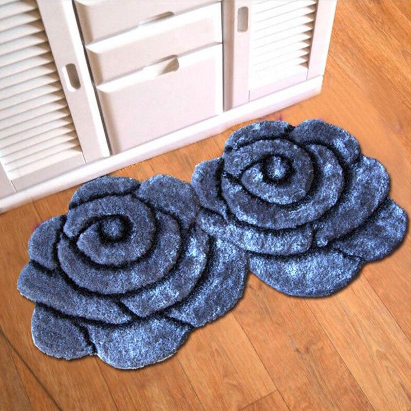 Nouveau 90X140 cm plus épais 3D Double fleur tapis 300D soie Stretch soie Non-tissé anti-dérapant tapis tapis pour salon tapis
