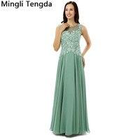 Индивидуальные элегантные женские зеленые шифоновые платья для матери невесты Вечерние платья для матери кружева сзади Иллюзия Модер ван