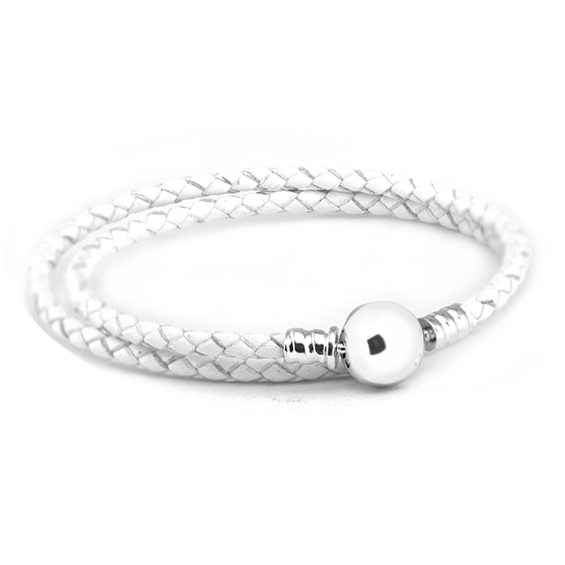 Ivory White Braided Leather Charms Bracelets 100 925 Sterling Silver Jewelry Free Shipping