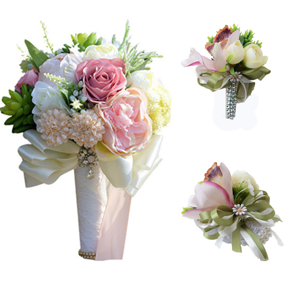 H & S nuptiale 100% Bouquet de mariage réel (fleur de poignet et boutonnière) Vintage ruban mariage demoiselle d'honneur nuptiale Bouquet 3 pièces/ensemble