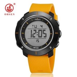 OHSEN цифровой бренд, спортивные часы для мужчин, наручные часы с будильником, датой, секундомером, светодиодной подсветкой, 50 м, водонепроница...