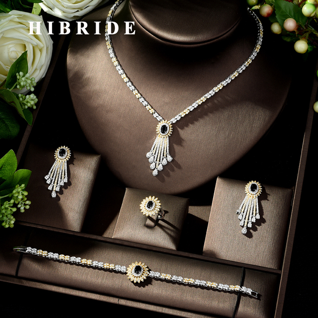 HIBRIDE Trendy Jewelry Set Geometric Design Water Drop AAA CZ Wedding Jewelry Sets for Brides 2 Tones Jewelry Set Bridal N 317
