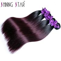 Shining Star Hair Ombre Brazilian Straight Hair 1b Burgundy Two Tone Human Hair Extension 1b 99J