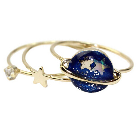 Timlee R154 Free shipping Cute Blue Star Planet Saturn 13MM Joint Finger Rings S