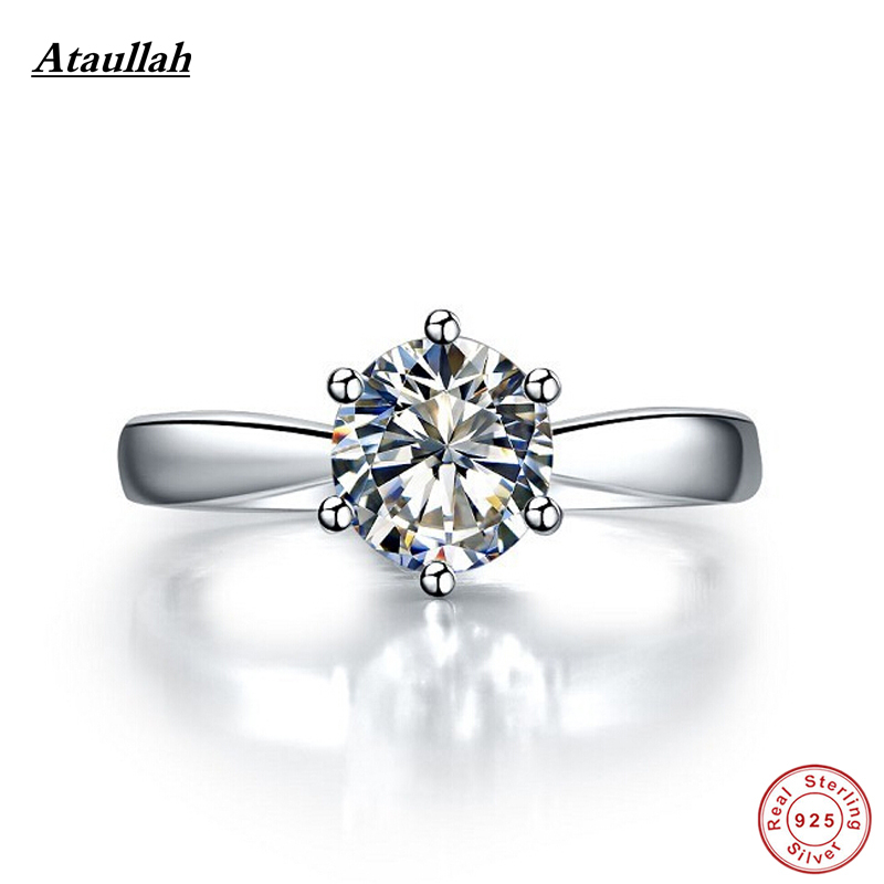 Ataullah 1carat Gemstone Ring Diamond Rings for Women Sterling Silver 925 Jewelry with Platinum Plated Luxury