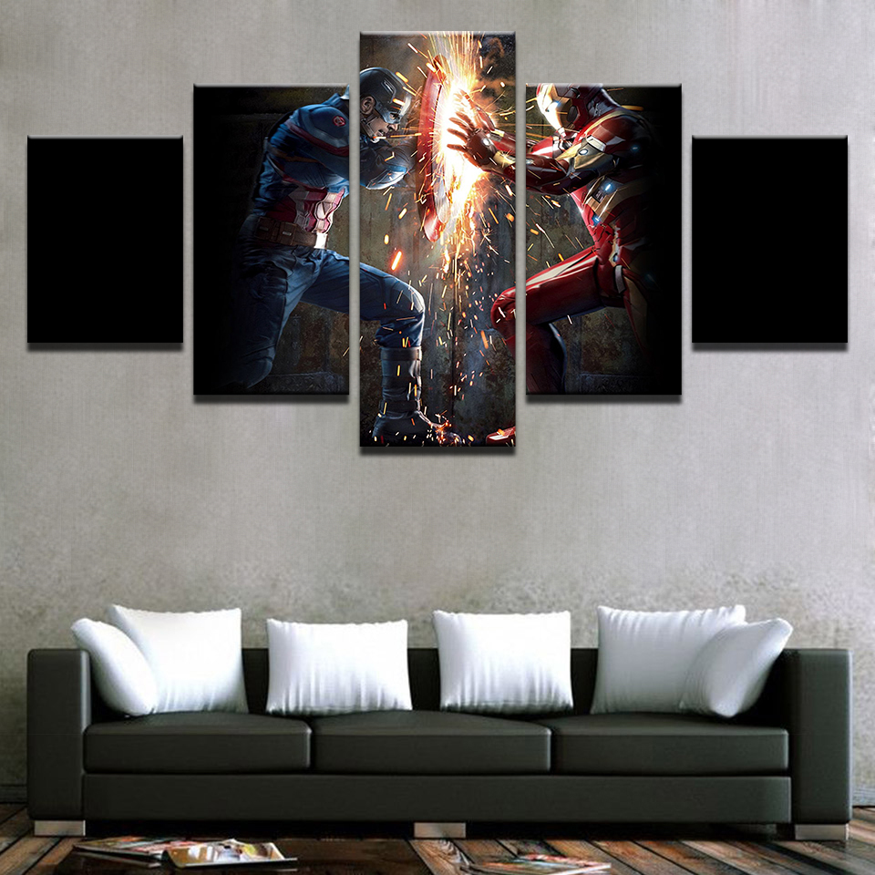 Captain America Civil War Movie HD Print Painting Modern 5 Pieces Home The Wall Art Paintings on Canvas Wall Art Living Room image