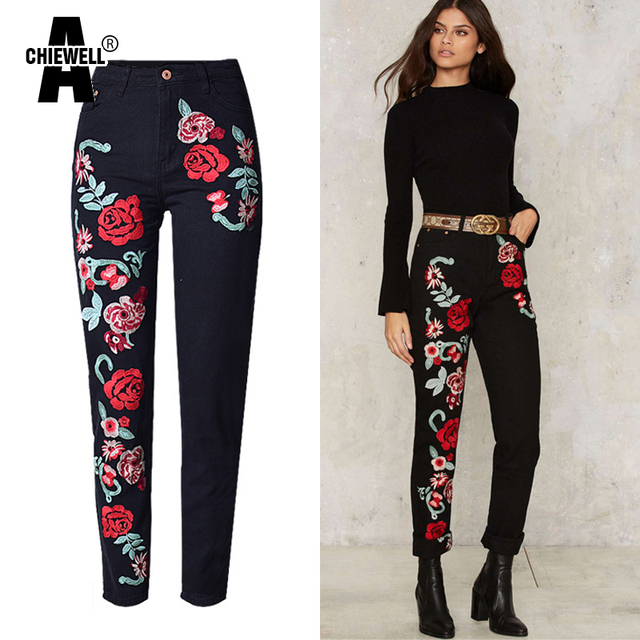 Achiewell Plus Size Spring Women High Wasit Jeans 3D Rose Floral Embroidered Black BF Women Denim Jeans Pants